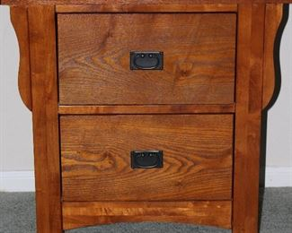 """Oak 2 Drawer Chest Side Table (26""""H x 26""""W x 16""""D)"""
