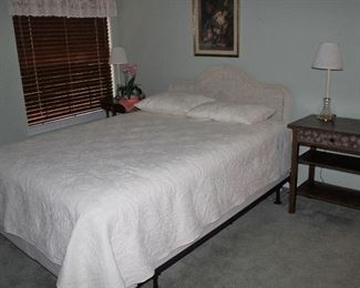 White Wicker Double Bed Headboard shown with a Queen Size White Pillow Top Mattress Firm Direct Set