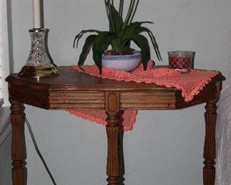 "Depression Era Walnut Table raises on 4 Turned Legs with Cross Stretchers.  (30""W x 29""H x 18""D)"