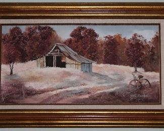"Autumn Country Landscape Original Oil on Canvas my Edna Chrestman.  Linen Mat Gold Leaf Frame (31' x 19"")"