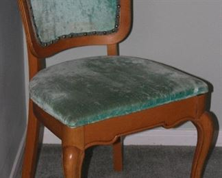French Provençal Side Chair with Green Velvet Upholstered Seat and Back