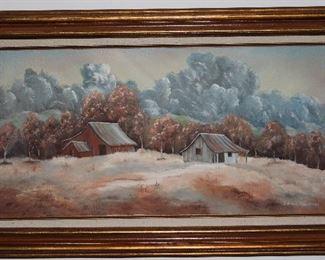 """Old Homestead Landscape Original Oil on Canvas by Edna Chrestman. Gold Leaf Wood Frame with Linen Mat (36 3/4"""" x 21 3/4"""")"""
