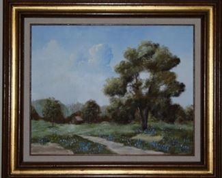 "Texas Blue Bonnet Landscape Original Oil on Canvas with Linen Mat Gold Leaf Frame (27""x 23.5"")"
