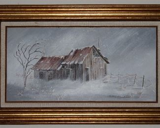 """Original Oil on Canvas """"The Shack"""" by Edna Chrestman with Linen Mat Gold Leaf Frame (31"""" x 19"""")"""