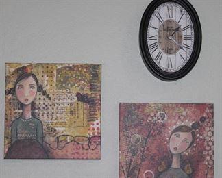 """Grace Wall Art by Kelly Rae Roberts (12"""" x 12""""), 2009 La Casa Bella Boutique Quartz Wall Clock"""