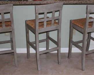 Sage Green Rush Seat Solid Wood Bar Stools