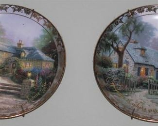"""Bradford Exchange 2001 Thomas Kinkade's """"Places in the Heart"""" Collector's Plates:  """" Happiness Blooms at our Home"""", """"Hollycock Cottage"""" and  """" Home is Where our Hearts feel Welcome"""",  """"Foxglove Cottage""""-"""