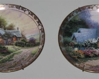 """Bradford Exchange 2001 Thomas Kinkade's """"Places in the Heart"""" Collector's Plates: """" Love is the Heart of our Home"""", """"A Peaceful Time""""   and  """"Family Warms the Heart of Home"""", """"Weathervane Cottage"""""""