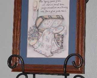 """Scroll Metal Plate/Picture Wall Rack Shown with """"Legacy"""" Verse Print Matted and Framed (8 x 10)"""