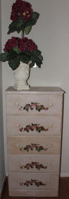 "Handpainted Floral Design Off-White 5-Drawer Lingerie  Chest.  (43.5""H x 21""W x 13""D) Hydrangea Topiary Arrangement"