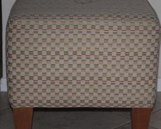 "Ethan Allen Upholstered Ottoman ( 20"" x 20"" x 12"" raised on 6"" Feet.) 1 of 2 shown."
