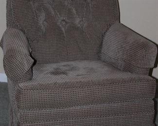 Gray Re-Upholstered Swivel Rocker Easy Chair