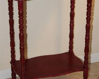 """Red Paint Depression Era Chair Side Table w/Lower Shelf (18""""W x 24""""H x 12""""D)"""
