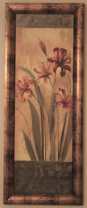 """Day Lilies"" Bronze Leaf Framed Print (16.5"" x 39"")"