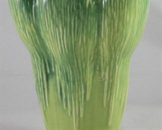 """McCoy Item 6083. Vintage  c.1940's Art Pottery Green Vase. 9"""" x 6 7/8"""" across top."""