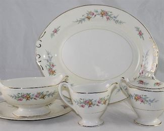 """Homer Laughlin """"Countess"""" Georgian Eggshell Serving Pieces:   Oval Platter (13""""), Gravy Boat with Underplate and Creamer & Sugar w/Lid"""