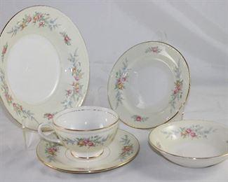 "Homer Laughlin ""Countess"" Georgian Eggshell Dinnerware:  Salad Plates (2), Cups & Saucers (7), B&B Plates (7) Rimmed Soup Bowl (4) and Dessert Bowl (1)"