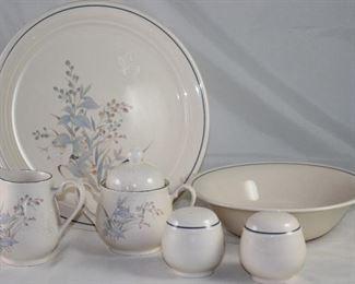 """Noritake """"Kilkee"""" Porcelain Dinnerware 6 serving Pieces: 12""""Chop Plate, Sugar & Creamer, Salt & Pepper Shakers and 9"""" Vegetable Bowl"""