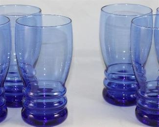 Vintage Cobalt Blue Ribbed Base Iced Tea Tumblers.  (6 of 12 Shown)