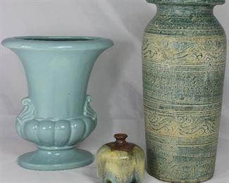 "Vintage Celadon Green Glaze Ceramic Vase (10""X 9""W x 4.5""D), Hand Made Drip Glaze Inkwell Bottle Vase c1971 Signed VH(3.5""H x 3""W) & Sgraffito Clay Crock Vase (13.5""H x 6""W)"