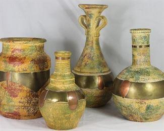 """Terra-cotta Brass & Copper Trim Vase Collection: Jar Vessel (10""""H x 8""""D), Ringed Neck Vase (9.5""""H), Tall Trumpet  Vase (15""""H) and Bottle Neck Ball Vase (12""""H X 8""""D)"""
