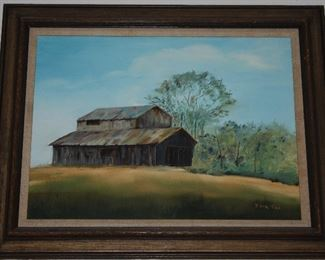 "Old Barn Landscape Original Oil on Canvas Signed Edna Fae (Edna Fae Chrestmas).  Linen Mat Wood Frame (30"" x 24"")"