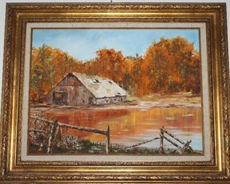 Original Oil on Canvas Signed Bert Needley.  Autumn Landscape with old barn and pond.  Linen Mat Gold Leaf Frame (31.5 x 25.5)