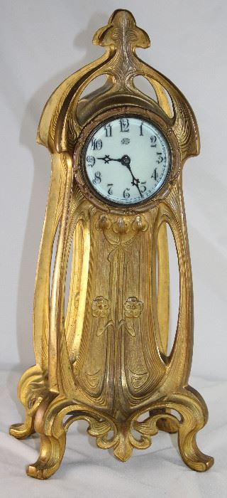 Antique Jennings Bros  Metal Foundry Art Nouveau Clock,