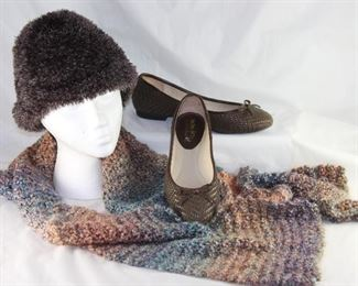 Cejon Brown Knit Stocking Cap, Knit Scarf and Coach and Four Braided Leather Ballerina Flats