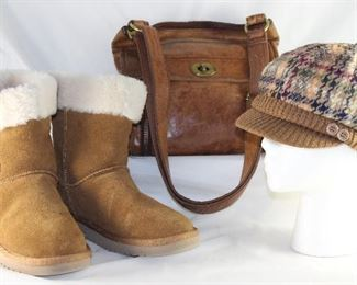 Kookaburra by Ugg Brown Suede Lined Boots, Fossil Vintage  Brown Leather Bag and Manhattan Hat Company Brown Hounds Tooth Plaid Billed Cap