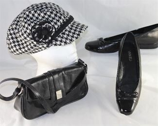 Manhattan Hat Company Black and White Houndstooth Check Cap with Bill, Vaneli Black Leather and Patent Ballerina Flats and Kenneth Cole Reactions Black Leather Clutch Handbag