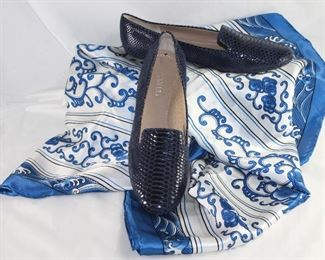 Vaneli Navy Embossed Snake Flats Shown with A Large Blue Print 100% Silk Scarf