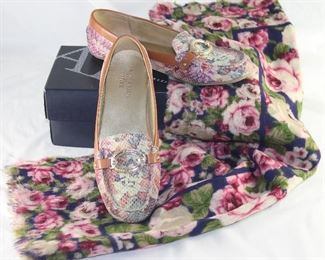 Anne Klein Iflex Floral buckler Front Loafer/Moccasin Shown Axcess Large Rose Floral Wool Scarf