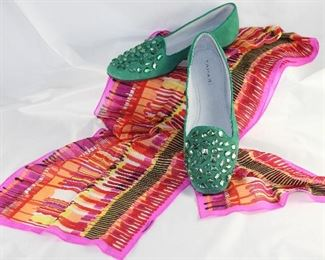 """Tahari Suede Turquoise Leather Rhinestone Embellished Flats Shown with """"Echo"""" Vintage Chiffon Pink Multi Colored Scarf"""