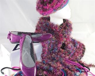 Anne Klein Plum Patent Leather Ballerina Flats Shown with Jones of New York plum Multi Color Knit Beret and Scarf