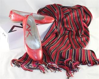 Anne Klein Red Patent Ballerina Flat Shown with Red and Black Fringed Oblong Knit Scarf