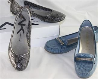 Anne Klein: Sport Black & Silver Snake Skin Ballerina Flats and Blue Faux Snake Skin Patent with Silver Mesh Accent Loafer/Moccasins