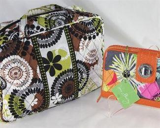 Vera Bradley Brown Green Floral Makeup/Handbag and Vera Bradley Orange Floral Turnlock Wallet