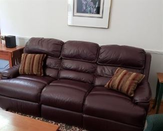 BARCALOUNGER LEATHER SOFA W/RECLINERS BUILT IN
