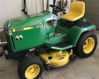 AWESOME JOHN DEERE 265 LAWN TRACTOR W/BLADE,CHAINS AND CART