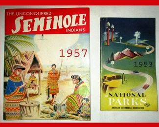 The Unconquered Seminole Indians Dated 1957 and National Parks Dated 1953-Great Graphics