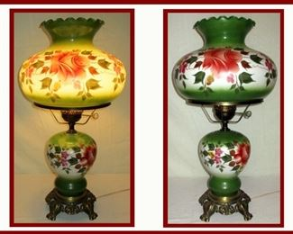 Beautiful Hand Painted Lamp showing it lit and unlit