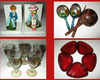 Sweet Little Bookends,  Maracas,  Vintage Stemware and Ruby Glass