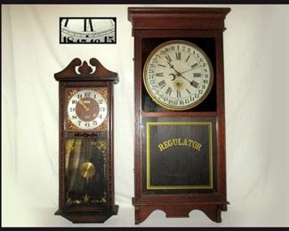Alaron 31 Day Clock and  Large Antique Sessions Clock Company Wooden Case Regulator Hanging Wall Clock and Calendar c.1890s
