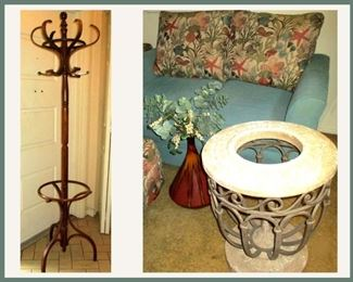 Coat Rack and Table Base; Has Substantial Glass Top