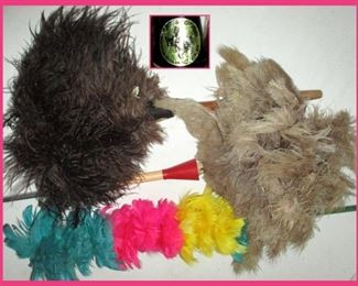 Feather Dusters, One with Original Label stating they are Texas Feathers