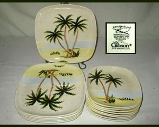 Gibson Hand Painted Palm Tree Dishes