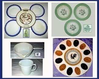 Flow Blue Plates SVOC Imperial China, Chokin Plate, Shenango Plates, Coors Scientific Casserole, Pyrex Creamer and Rooster Deviled Egg Platter