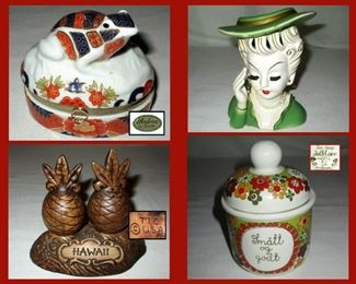 Andrea Frog Box. Lady Head Vase, Hawaiian Souvenir Salt and Pepper Shakers and Small Pot from Norway