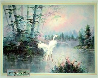 Huge and Beautiful Signed Heron Oil Painting on Canvas